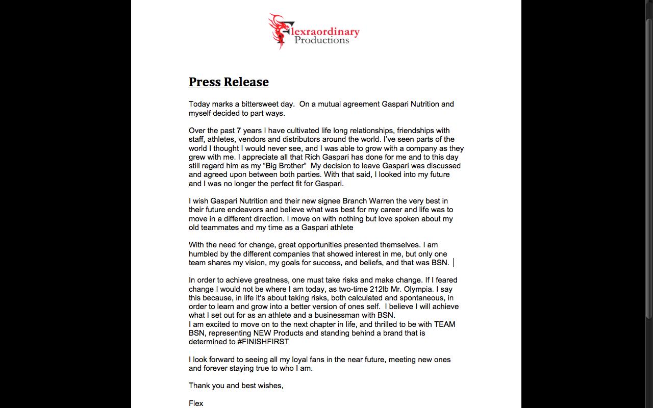 Pressemitteilung von Flex Lewis
