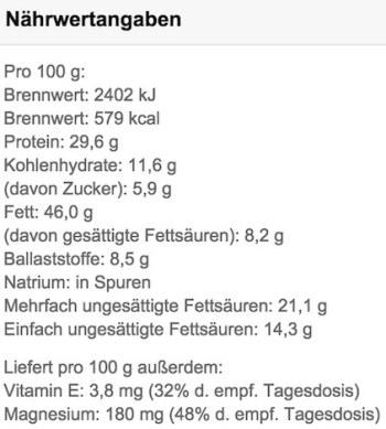 MyProtein-Erdnussbutter-Naehrwerte