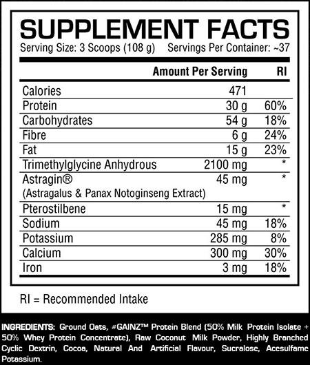 gainz-dedicated-supplement-facts