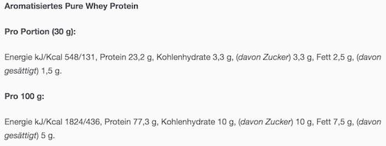 Nährwerte des Bulk Powders Pure Whey Protein.