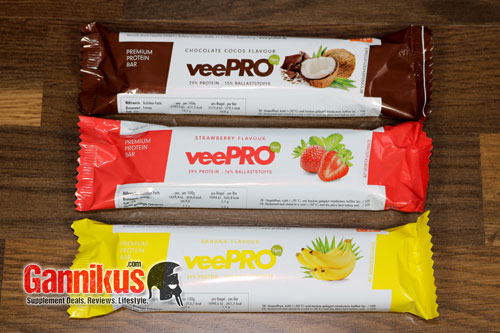 Aktuell gibt es den veganen Profuel veePRO Proteinriegel in 3 Geschmacksrichtungen.