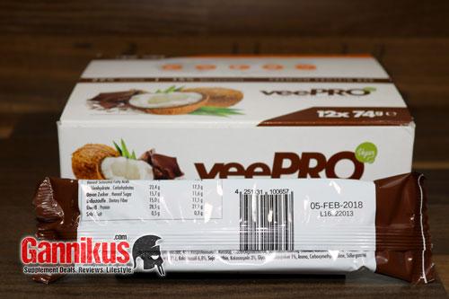Für einen veganen Proteinriegel sind die Werte des ProFuel veePRO durchaus gut.