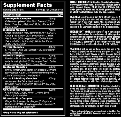 Animal Pak Cuts Supplement Facts