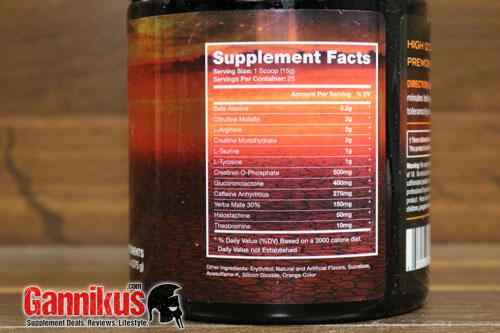 Chaos and Pain Olympus Series Titan Supplement Facts