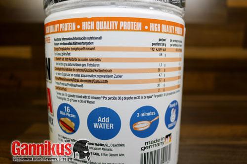 Weider Oat Protein Pizza und Protein Tomato Sauce Nährwerte