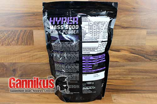 BioTechUSA HYPER MASS 5000 Supplement Facts