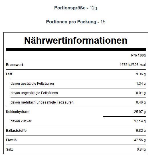 Nährwerte pulverisierte Erdnussbutter MyProtein