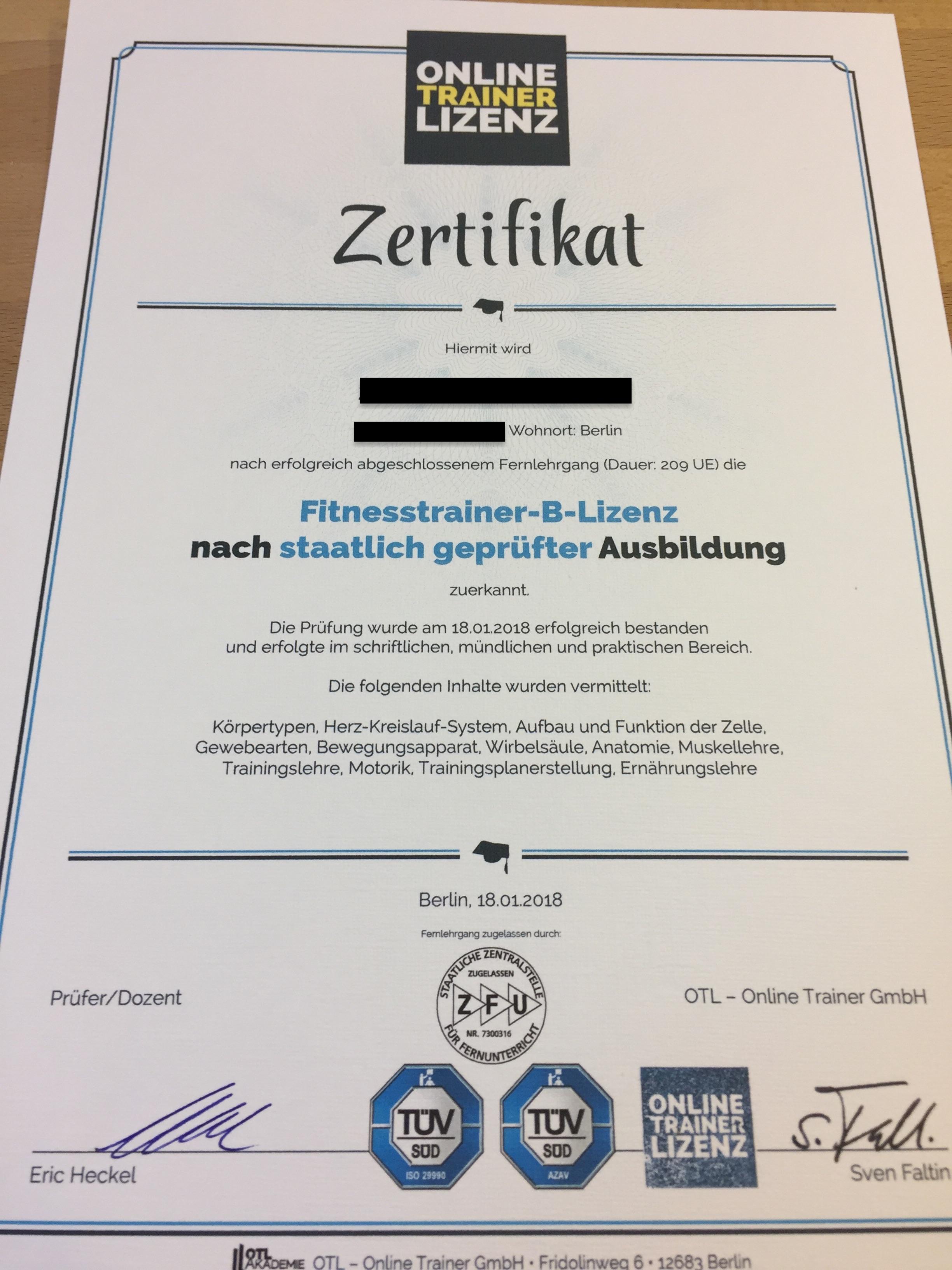 Online Trainer Lizenz Zertifikat