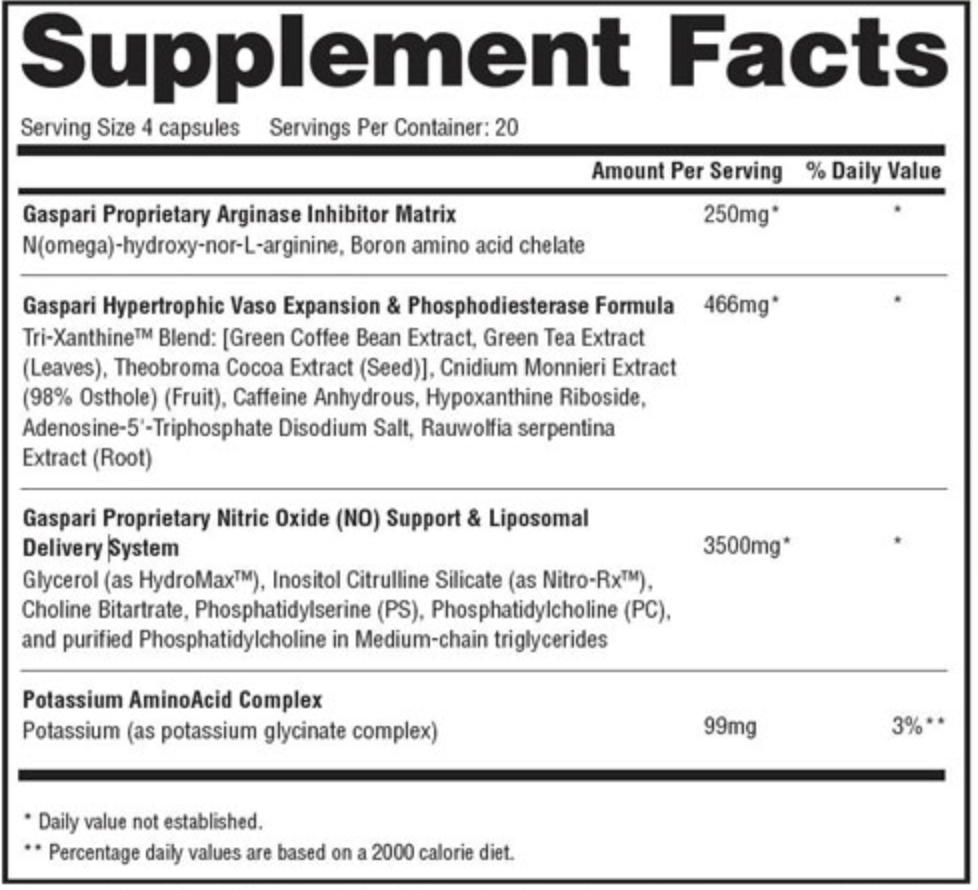 Gaspari Nutrition Plasmajet Supplement Facts