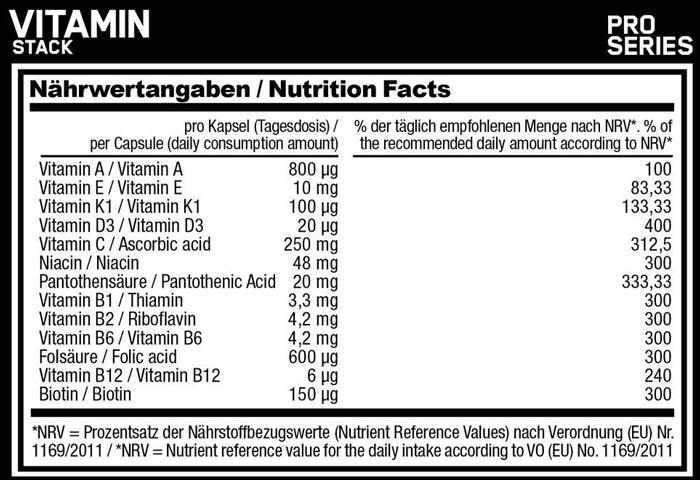 ESN Vitamin Stack Kalorien
