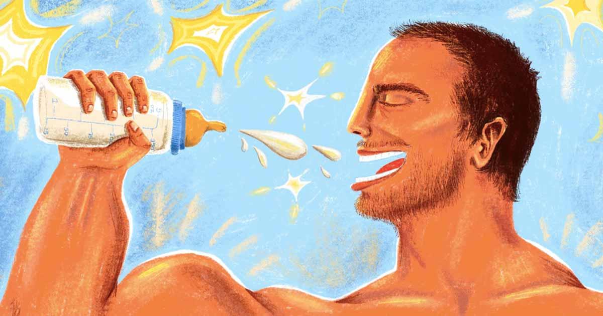 Mann trinkt muttermilch video