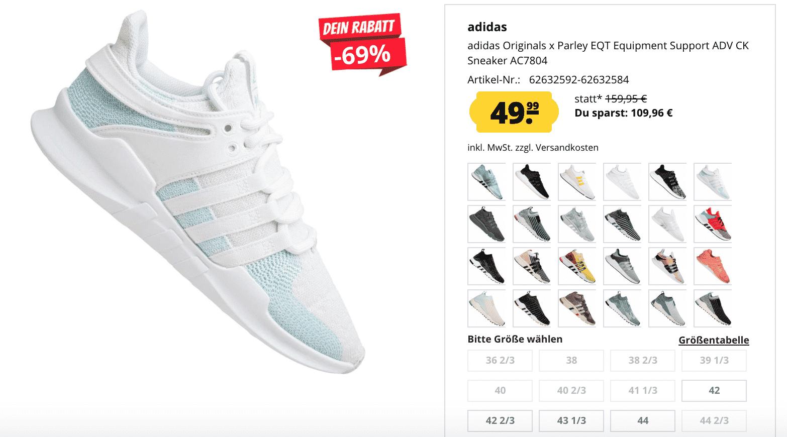 Sportspar: Bis zu 69% Rabatt auf Adidas EQT Support Sneaker