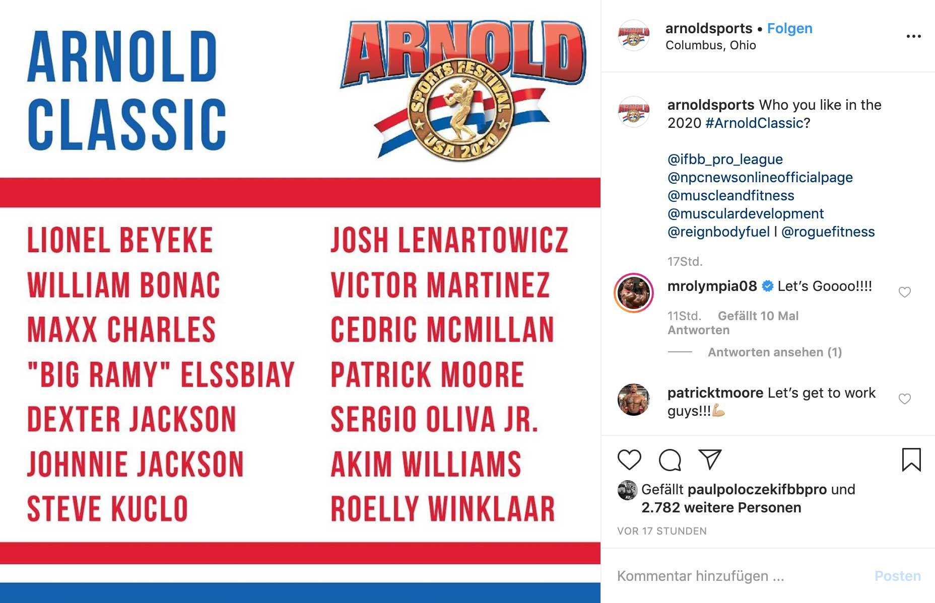 Instagram-Screenshot: Einstige Teilnehmerliste der Arnold Classic 2020