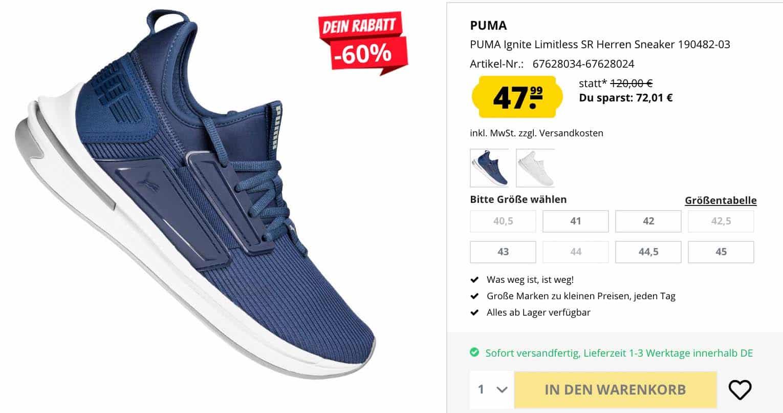 Puma: Ignite Limitless SR Sneaker für nur 47,99 € statt 120