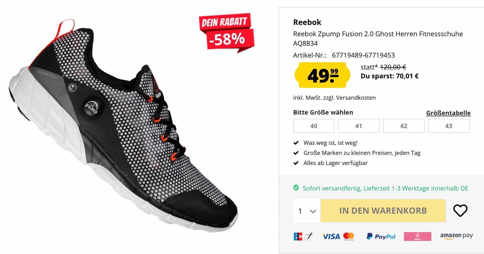 Reebok: 58% Rabatt auf Zpump Fusion 2.0 Ghost Fitnessschuhe