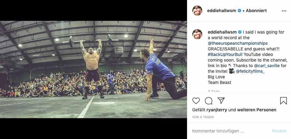Instagram-Bild: Eddie Hall Weltrekord im CrossFit