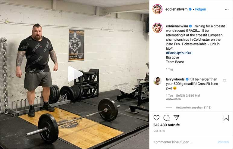 Instagram-Video: Eddie Hall trainiert CrossFit