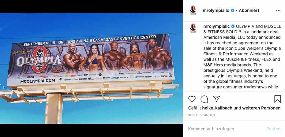 Instagram-Screenshot: Mr. Olympia an Jake Wood verkauft