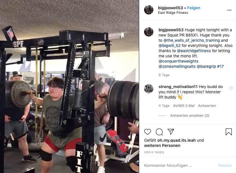 Instagram-Beitrag: Jackson Powell bewältigt 401 Kilogramm in der Kniebeuge.