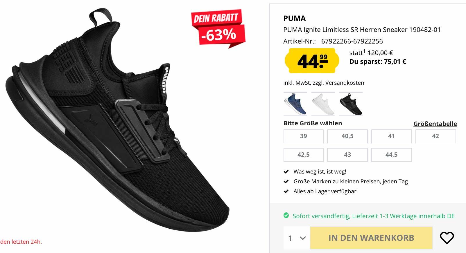 Puma: Ignite Limitless SR Sneaker für nur 44,99 € statt 120