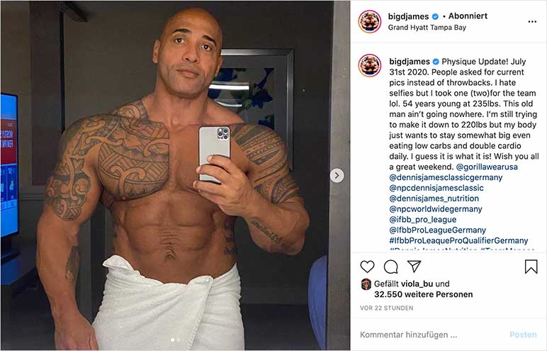 Instagram-Bild: Dennis James zeigt seine Form