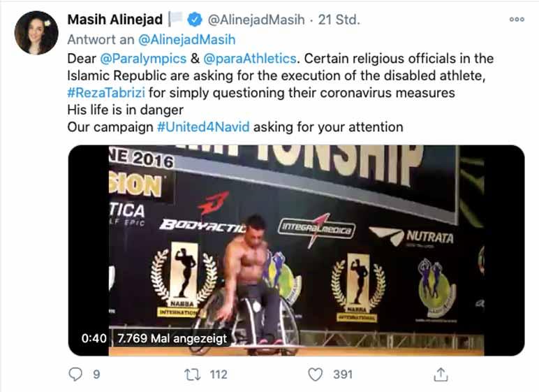 Twitter-Bild: Journalistin Masih Alinejad fordert Gerechtigkeit für Bodybuilder Reza Tabrizi