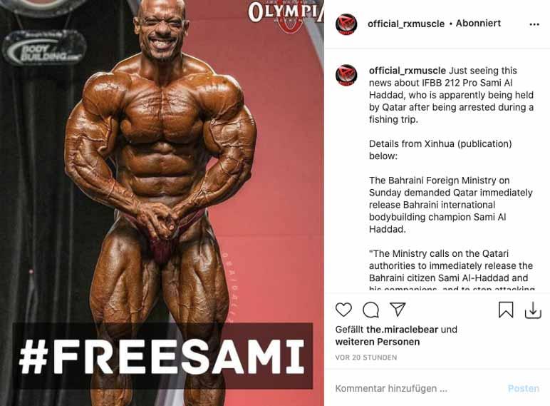 Bild: Bodybuilder aus Bahrain soll zu Unrecht verhaftet worden sein