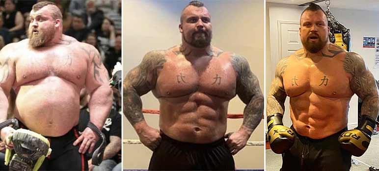 Bild: Eddie Hall mit seiner Transformation der letzten Jahre