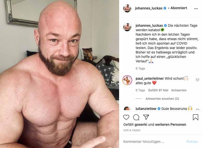Bild: Johannes Luckas mit Corona im Krankenhaus