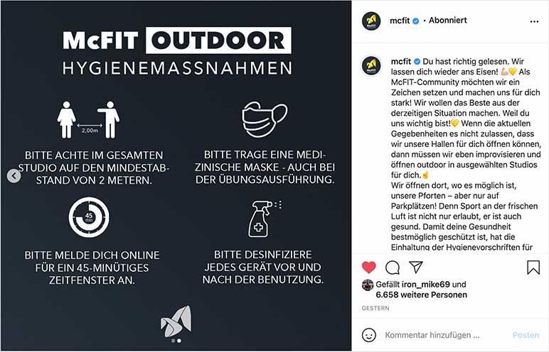 Instagram: Regeln für die Outdoor-Gyms von McFit